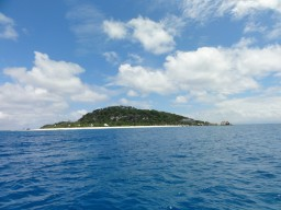 Island view - Outlook to the tropical island of Cousine Island.