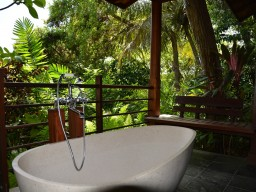 Luxurious room categories - Why not experience an open air bath surrounded by tropical nature.