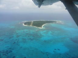 Bird view of Denis Island - Overlooking Denis Island from the air during the landing approach.