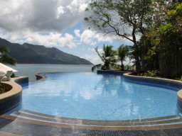 Pool area - The hotel pool provides relaxation with a beautiful view to the Beau Vallon Beach