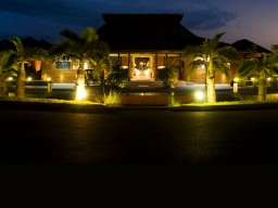 Artful lighting - Evening mood at the main building of the Palm Hotel.