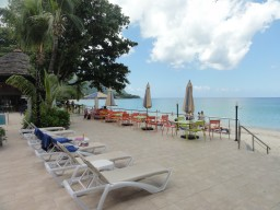 Pool area - Pool area with direct beach access to the Beau Vallon Beach