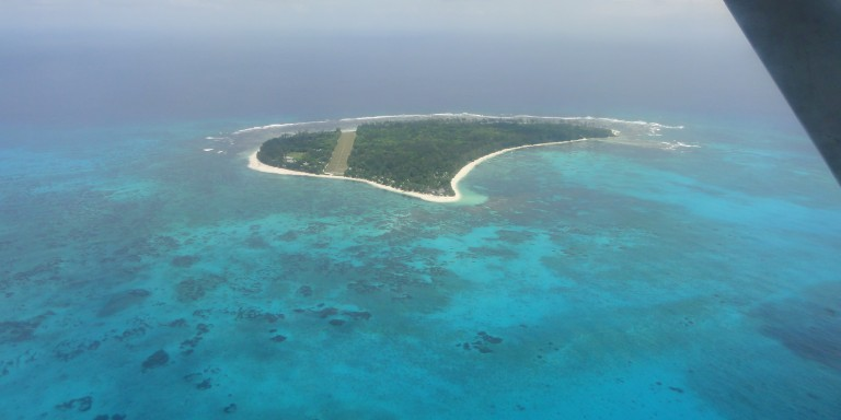 Denis Island from the air - View from the plane on the island.