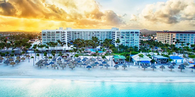 Aruba Marriott Resort & Stellaris Casino - Hotel overview including the long white sandy Palm Beach.