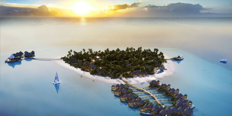 The Nautilus Maldives - Overview of the island with their beach and water villas.