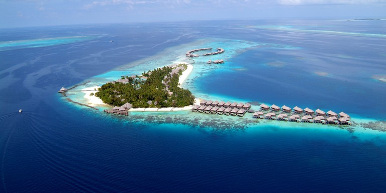 Coco Palm Bodu Hiti - The island from the air. Accessible by speedboat from Mahe Airport.