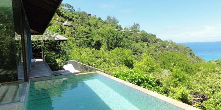 Ocean View Villa - Magnificent view from the infinity pool over the bay of Petite Anse